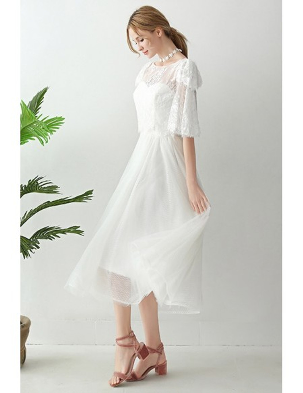 Buy 2020 Spring Lace Jacket Retro Two Piece Tea Length Tulle