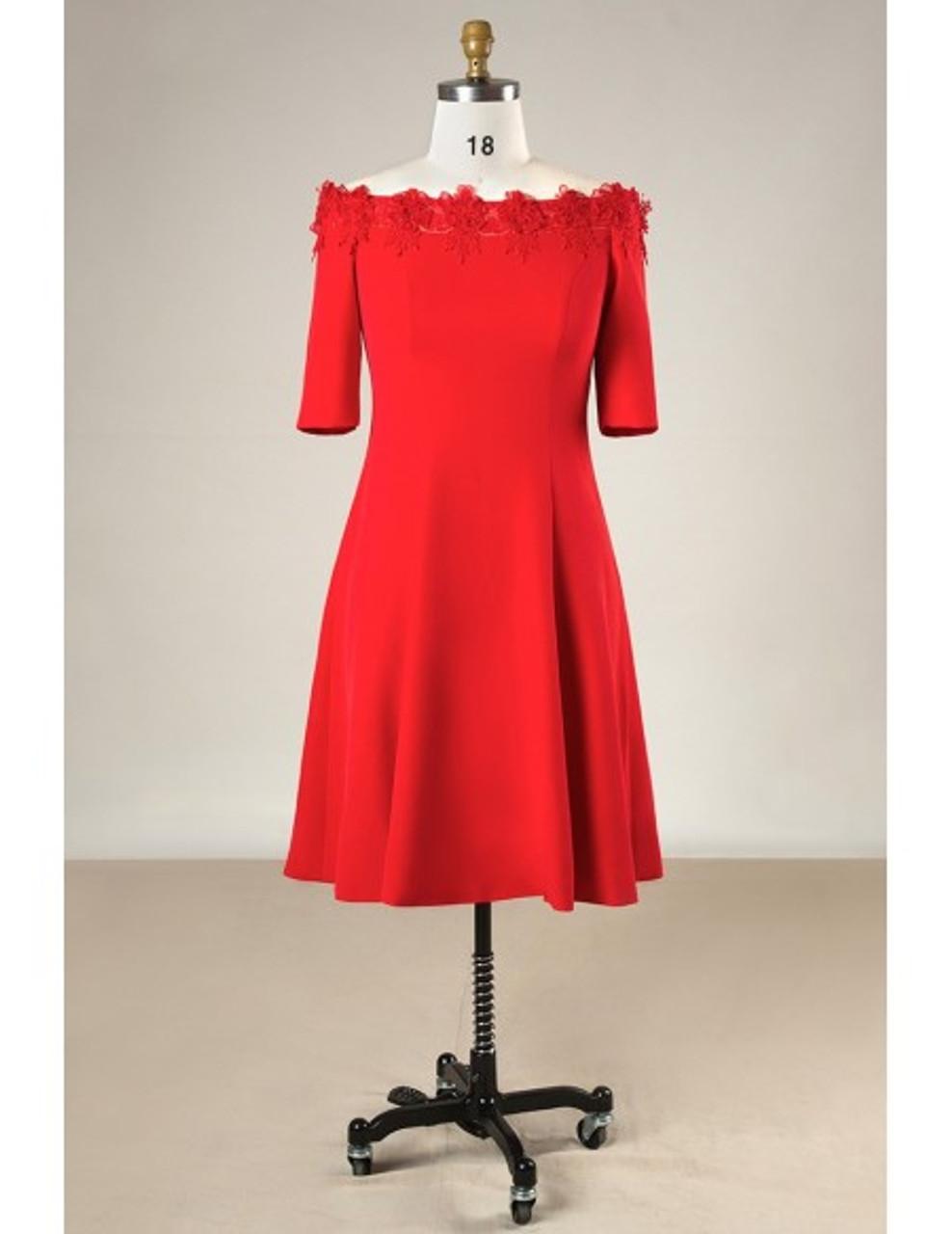 Off Shoulder Red Knee Length Plus Size Mother Of The Brides Dress