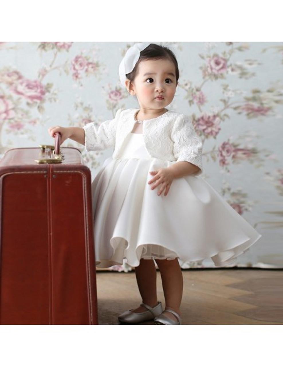 Baby Toddler White Princess Flower Girl Dress