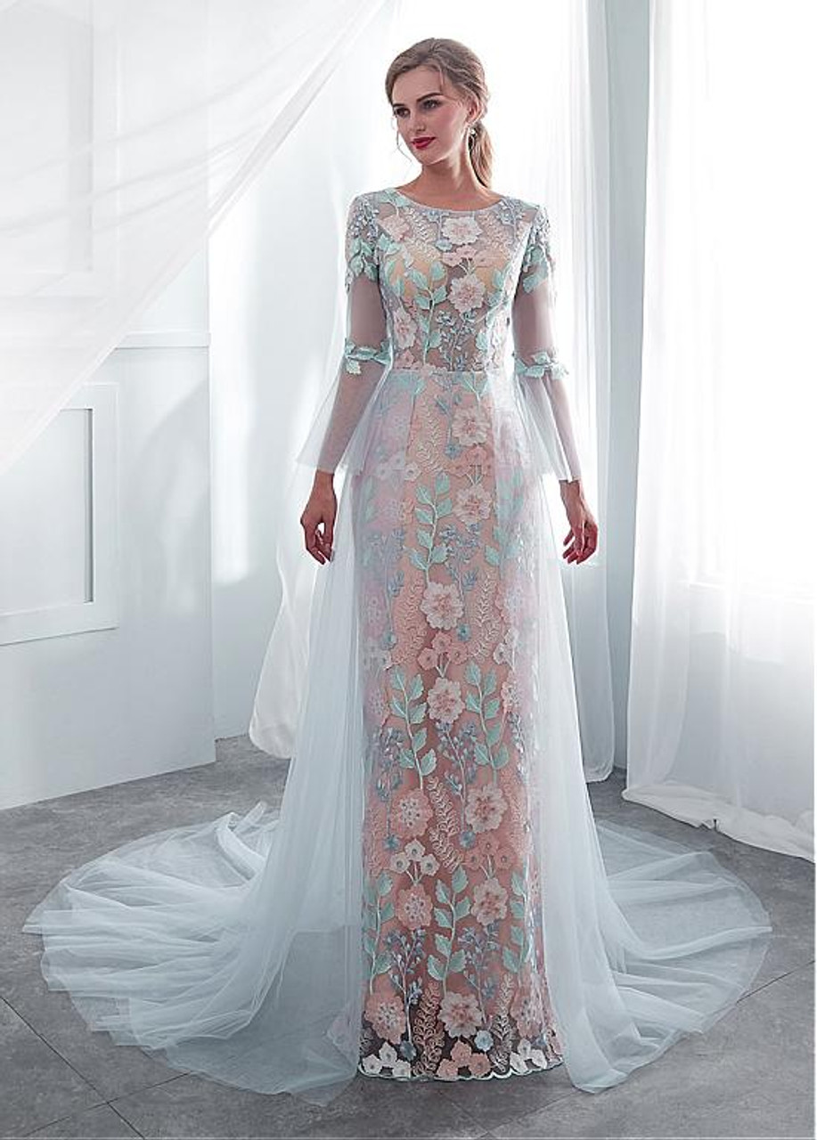 Colorful Flower Jewel See Through Sheathcolumn Wedding Dress