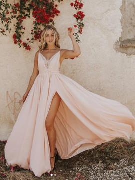9d71f14a290 Appliques Pearl Pink A-Line Spaghetti Straps Prom Dress ...