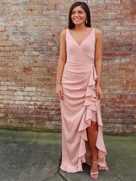 e3d50140a2f Acetate Satin Pleats V-neck Neckline Pink Sheath Prom Dress ...