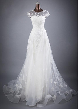 24fd82669a1 Tulle Jewel Beaded Lace Appliques Flowers A-line Wedding Dress ...
