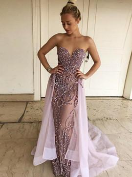 bd68e3546a6 Light Purple Beading Strapless Over-Skirt Prom Dress