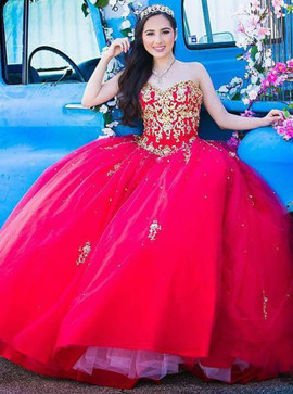 ba2f0084ca2 Ball Gown Appliques Beading Sweetheart Red Tulle Quinceanera Dress