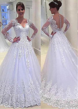 9505a9ee60bad Long Sleeves V-neck A-line Wedding Dress With Bead