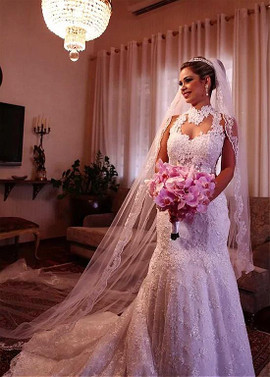 Purple Wedding Dress with High Collar