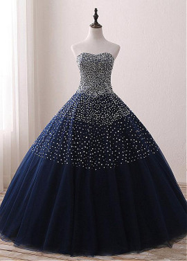 af3d21ae5df Sweetheart Beading Navy Floor-length Ball Gown Quinceanera Dresses ...