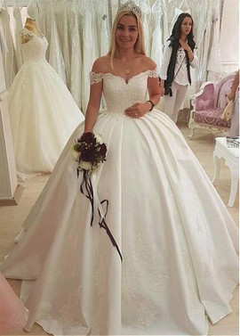 Satin Off The Shoulder Beading Lace Appliques Ball Gown Wedding Dress