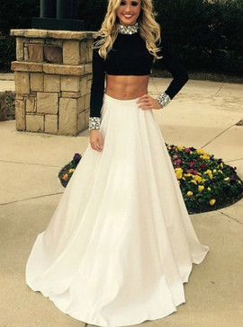 b945956721 High Neck Long Sleeve Backless Beading A-Line Two Piece Prom Dress ...