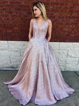 0b772e05e1f A-Line Princess Sleeveless Pink V-neck Sequin Lace Prom Dresses ...
