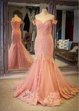 da470cfa7fb Tulle Off-the-shoulder Rhinestones Pink Sexy Mermaid Evening Dress ...