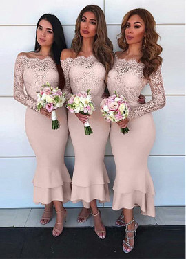 138ac891200d Dusty Pink Lace Off-the-shoudler Hi-lo Mermaid Bridesmaid Dress