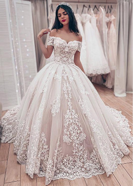 3f3b1e3429d3c Cheap 2019 Tulle Off-the-shoulder Lace Appliques Ball Gown Wedding Dress ...
