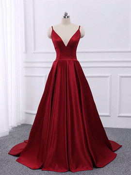 fd5379d42 Cheap 2019 Spaghetti Straps Backless Burgundy A Line V Neck Satin Long Prom  Dress ...