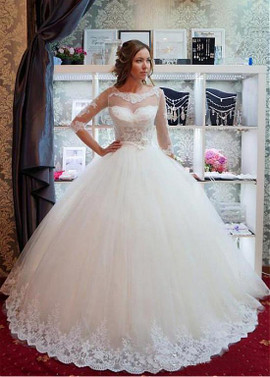 daca8d96ddf5 Half Sleeve Scoop Belt Ball Gown Wedding Dress ...