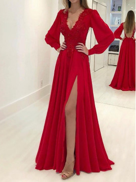 66aa2815b Cheap Red Red A-Line Princess Long Sleeves V-neck Red Applique Chiffon Prom