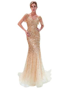 3fcd7539a4a ... Burgundy Tulle V-neck Long Beading Mermaid Evening Dress