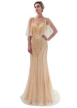 a897b9342a1 Tulle Jewel Neckline Silver Cap Sleeves Mermaid Formal Dress ...