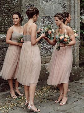 7e097725f83c ... Cute Tea Length Pink Tulle Spaghetti Straps Bridesmaid Dress