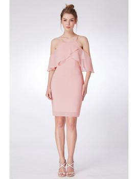 f539f5e3fcb Off Shoulder Sleeves Pink Short Bridesmaid Dress · Choose Options
