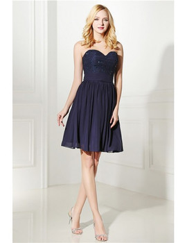 20df3b2290f9c Strapless Navy Blue Lace Top Short Bridesmaid Dress ...
