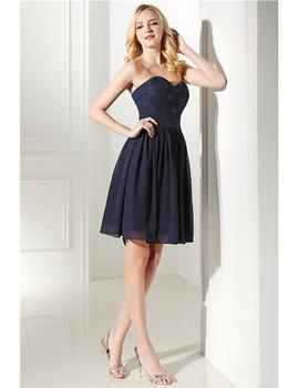 e4a769d55b3 ... Strapless Navy Blue Lace Top Short Bridesmaid Dress
