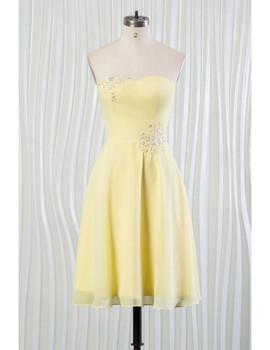 a61391b5504 Beading Strapless Yellow Summer Bridesmaid Dress ...