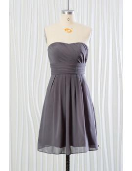 e13ff75a0c9 Summer Chiffon Strapless Short Grey Bridesmaid Dress ...