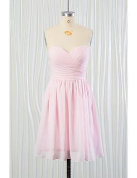 7c372198c74 Short Chiffon Blush Pink Beach Bridesmaid Dress ...