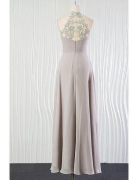 4d7e2902ac6 Long Halter Lace Back Silver Beach Bridesmaid Dress