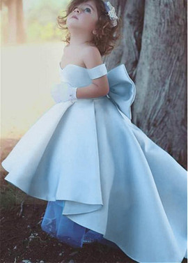 d2a41d21dc Hi-lo Satin Off-the-shoulder Ball Gown Flower Girl Dresses With Bowknot ...