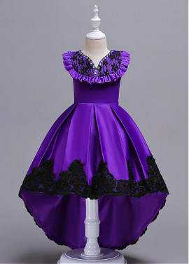 1982d69ba Purple In Stock Satin V-neck Beadings High Low Flower Girl Dress ...