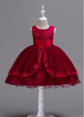 bad7f34cec036 Red In Stock Tulle & Lace Jewel Neckline Ball Gown Flower Girl Dress ...