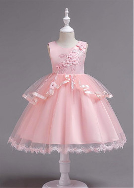 bdfb20d97f0 Pink Handmade Flowers Tulle   Satin Jewel Ball Gown Flower Girl Dress ...