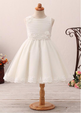 caee52557cd Jewel Neckline A-line Flower Girl Dress With Lace Appliques   Handmade  Flowers ...