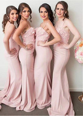 1e96be931bf Spaghetti Straps Handmade Flowers Mermaid Bridesmaid Dress