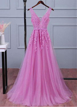 ecd5719901f Pink V-cut Back A-line Bridesmaid Dress With Beaded Lace ...
