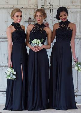 dc7d26c2609 Slit Lace   Chiffon High Collar A-line Bridesmaid Dress