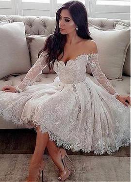 732642e37 Off-the-shoulder Neckline Knee-length Belt Wedding Dress