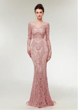 ab88b948b796 Lace Jewel Pink Long Sleeve Mermaid Evening Prom Dress ...