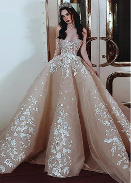 6b45dfb0c7c Tulle Off-the-shoulder Champagne Ball Gown Wedding Dress ...