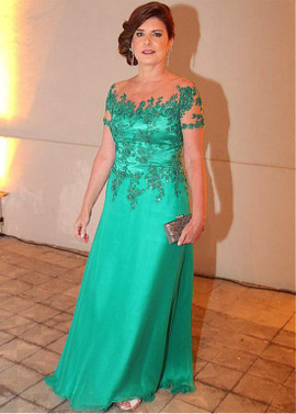 92d7520130a Silk-like Chiffon Sheer Jewel Green Short Sleeve A-line Mother Of The Bride