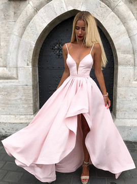 3bf974a747 Sexy Spaghetti Straps Split V-neck Pink Formal Prom Dress ...
