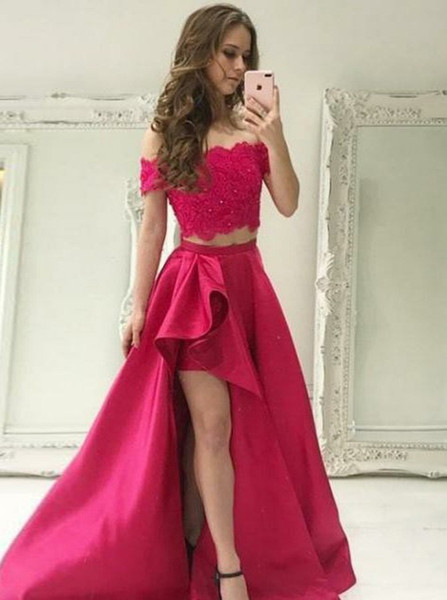 96799656d29 Lace Beading High Low Red Satin Two Piece Off-the-Shoulder Prom Dress