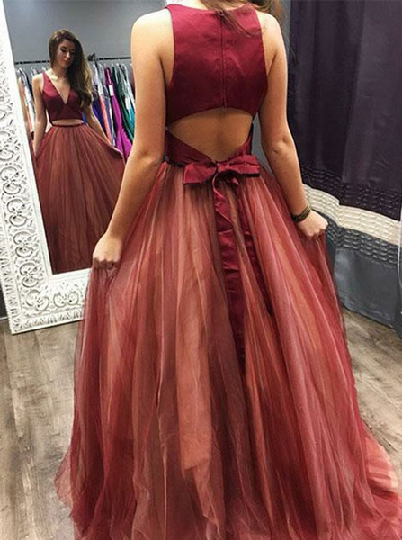97482ce5ca Sexy Two Piece V-Neck Open Back Red Tulle Prom Dress