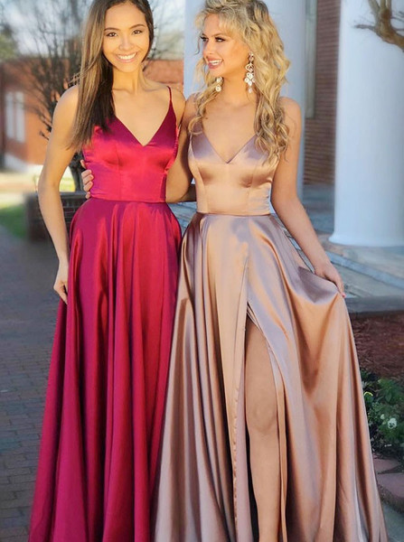 f07b89726df A-Line V-Neck Champagne Split Elastic Satin Prom Dress