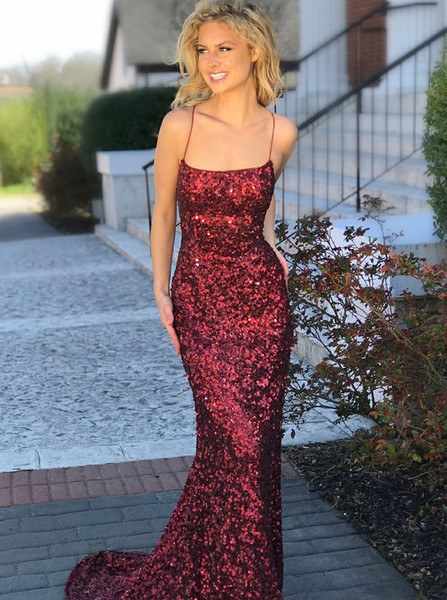 b473253dee Wine Red Sheath Column Spaghetti Straps Criss Cross Sequin Prom Dress