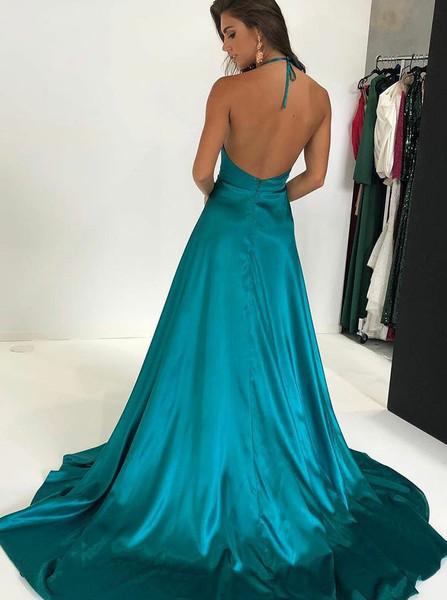 61c1f27396754 Sexy Split Turquoise A-Line Halter Elastic Satin Prom Dress