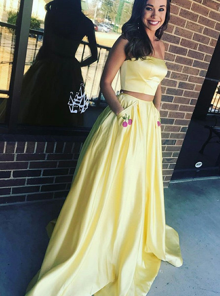 new items low cost clearance Pockets Appliques Yellow Satin Two Piece Strapless Prom Dress